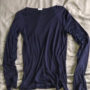 Splendid Navy Blue Long Sleeve Crew Neck
